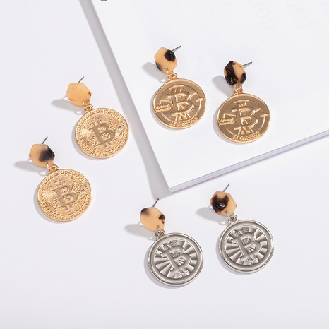 simple bitcoin embossed earrings NHAI306296's discount tags