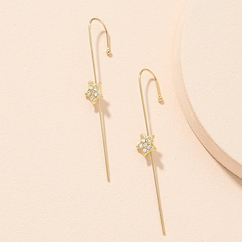 Pince  os d39oreille toile  cinq branches sertie de diamants Simple Fashion NHAI306304