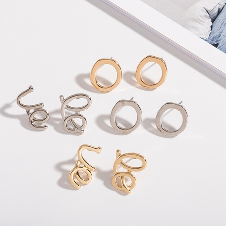 simple glossy geometric line letter earrings NHAI306327's discount tags