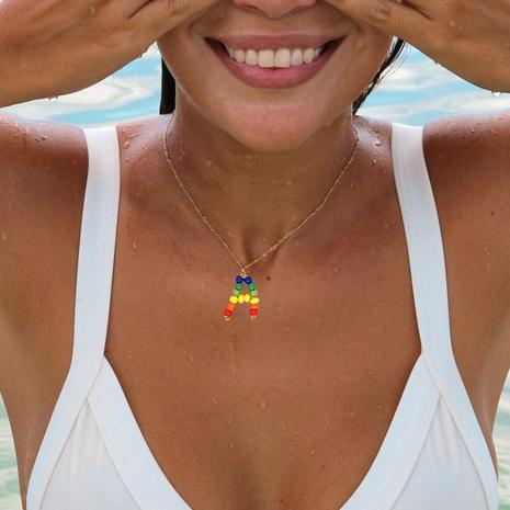 Edelstahl Anhänger Regenbogen Perlen 26 Buchstaben Halskette NHGW306346's discount tags