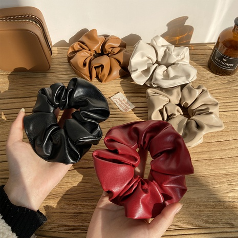 new fashion solid color leather hair scrunchies NHPJ306396's discount tags