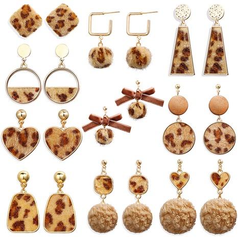 new creative retro mink fur ball leopard earrings NHPJ306404's discount tags