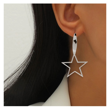 fashion silver five-pointed star earrings  NHCT306415's discount tags