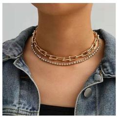 collar de bambú en forma de U de diamantes de aleación NHCT306423