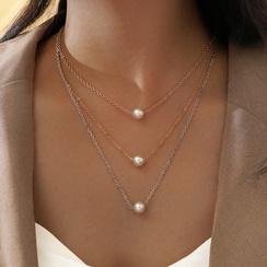 collar de perlas de imitación de múltiples capas de moda NHPV306429