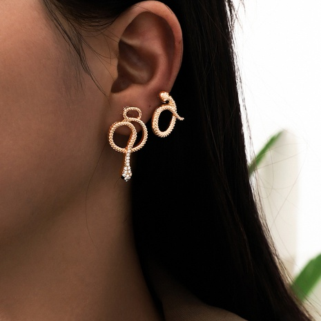 fashion snake-shaped diamond earrings 2 pairs  NHPV306432's discount tags