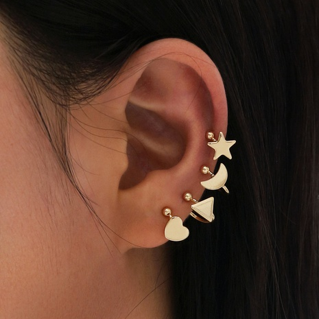 star moon triangle earrings 4 pieces NHPV306445's discount tags