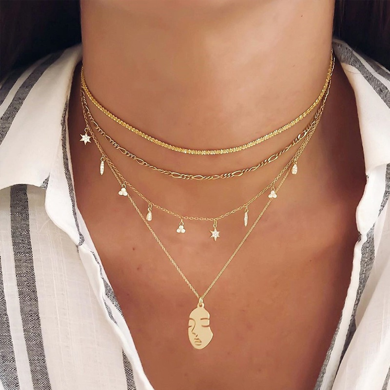 fashion face pendant multilayer necklace NHOT306477