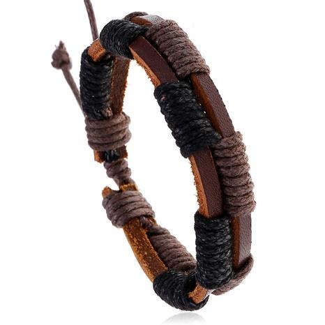 einfaches retro gewebtes Rindslederarmband NHPK306520's discount tags