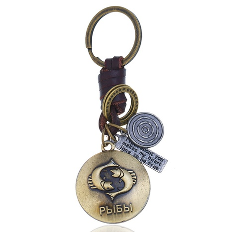 retro woven 12 constellation leather keychain NHPK306522's discount tags