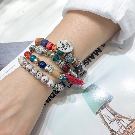 New Bohemian Creative Tassel Multilayer Beaded Bracelet NHBD306533's discount tags