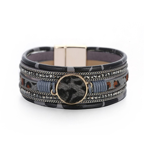 new bohemian hand-woven leopard magnetic bracelet  NHBD306537's discount tags