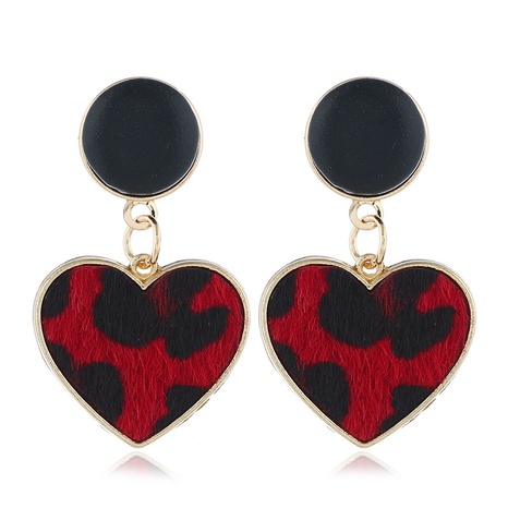 leopard leather heart earrings NHXI306540's discount tags