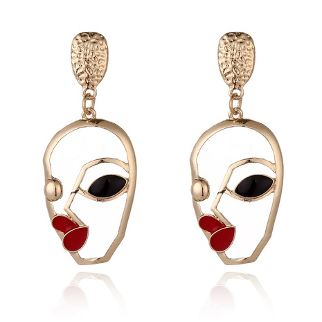 retro abstract face contour earrings NHXI306544's discount tags