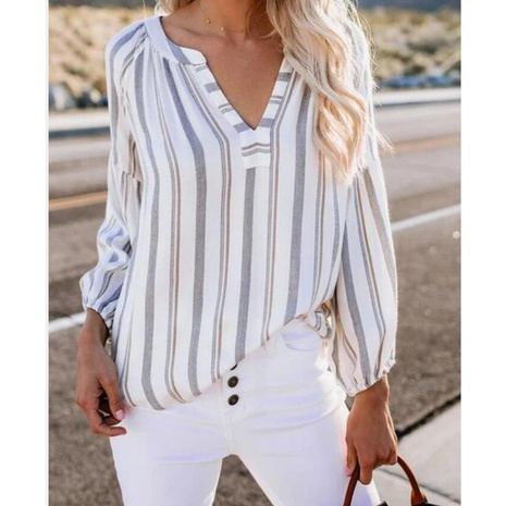 Spring new V-neck irregular striped shirt NHJG307801's discount tags