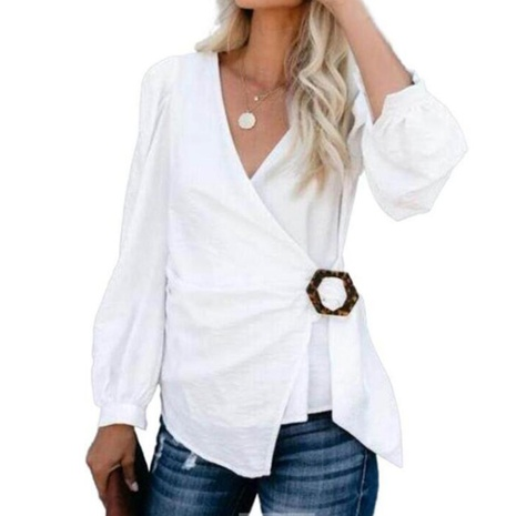 new sexy V-neck solid color square button knotted shirt NHJG306939's discount tags