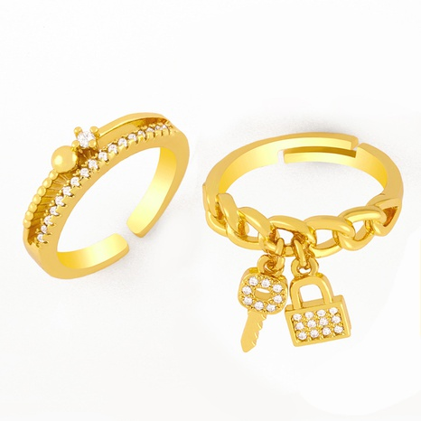 fashion key lock zircon ring  NHAS306657's discount tags