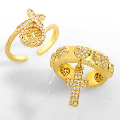 hip hop cross opening diamond ring  NHAS306659's discount tags