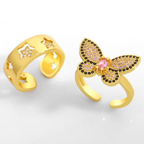 Butterfly micro-inlaid zircon open ring  NHAS306660's discount tags
