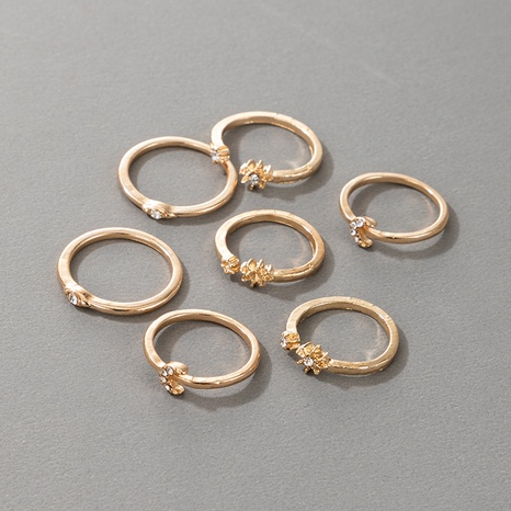 Retro Diamond Flower Moon Rings 7-Piece Set  NHGY306669's discount tags