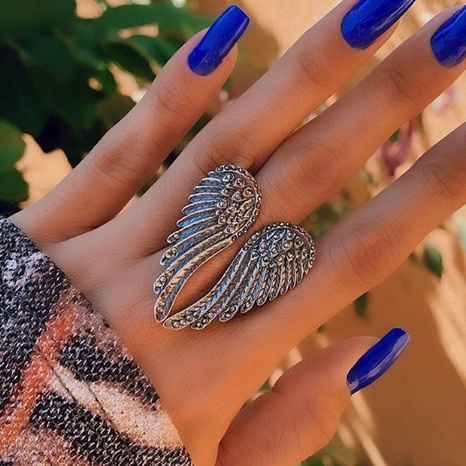 punk style silver wing ring NHGY306672's discount tags