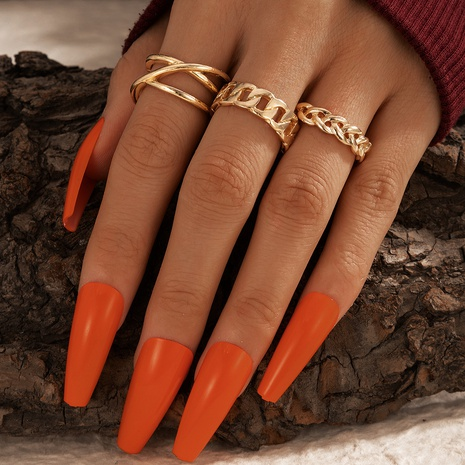 punk style metal hollow twist rings 3-piece set NHGY306674's discount tags