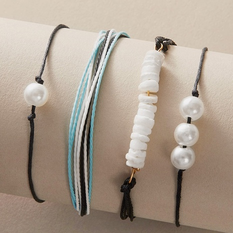 bohemian ethnic shell pearl bracelet 4-piece set NHGY306679's discount tags
