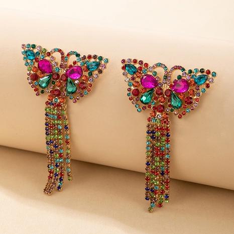 alloy glass rhinestone butterfly tassel earrings NHGY306686's discount tags
