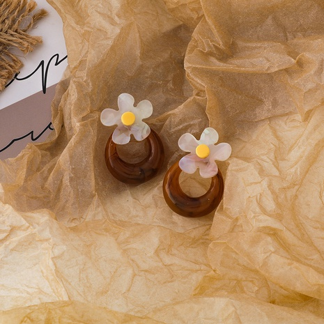 einfache Blumenacrylblumenohrringe NHMS306701's discount tags
