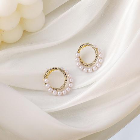 Koreanische neue trendige Perlen Strass Doppelkreis Ohrringe NHMS306706's discount tags