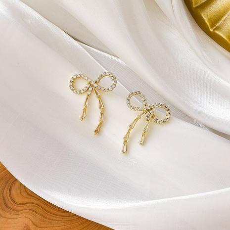 fashion new zircon bow earrings NHMS306707's discount tags