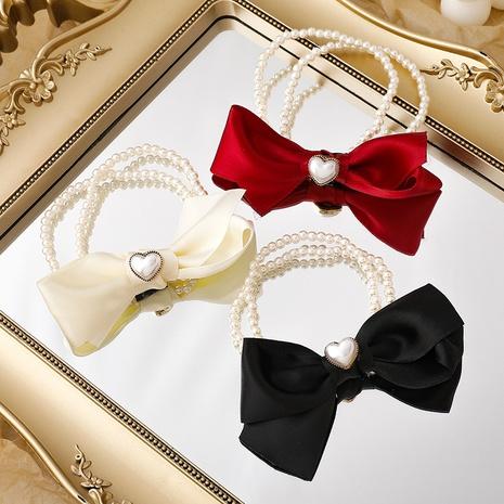 nuevo anillo de pelo con nudo de lazo de perlas de amor NHMS306724's discount tags