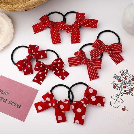 moda simple lazo rojo amor lunares anillo de pelo NHMS306728's discount tags