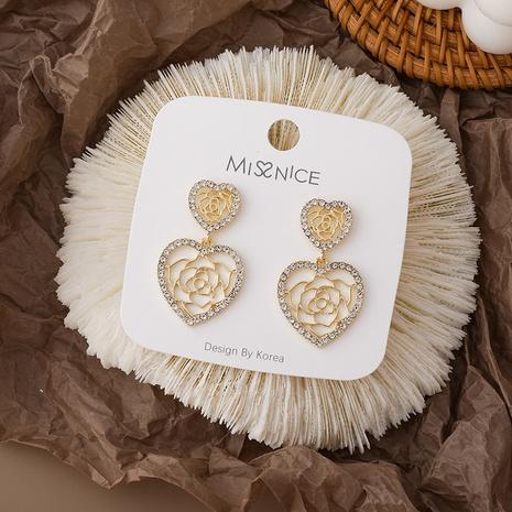 Korean love hollow rose earrings  NHMS306729's discount tags
