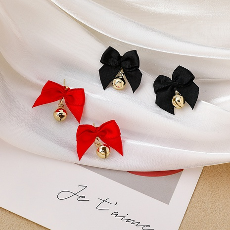 Red bow bell earrings  NHMS306730's discount tags