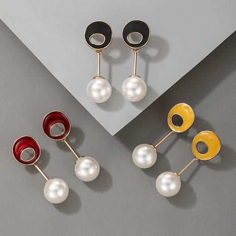 einfache Legierung Retro unregelmäßige runde Perlenohrringe NHGY307308's discount tags