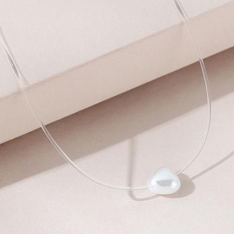 Europäische und amerikanische einfache Retro-Mode wildes Temperament Perle Pfirsich Herz Halskette NHPS306751's discount tags