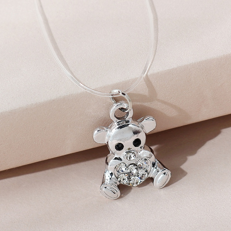 Korean sweet fashion cute wild naughty bear necklace NHPS306757