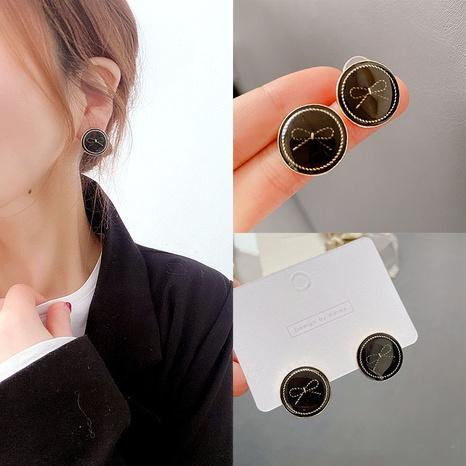 bowknot silver needle alloy cute black earrings NHHI306760's discount tags