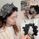 new korean retro wood ears leopard houndstooth hairband NHHI306763