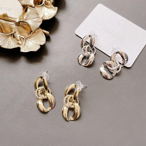alloy chain micro-inlaid retro earrings NHHI306783's discount tags