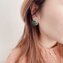 Retro Button Silver Needle Stud Earrings NHHI306788