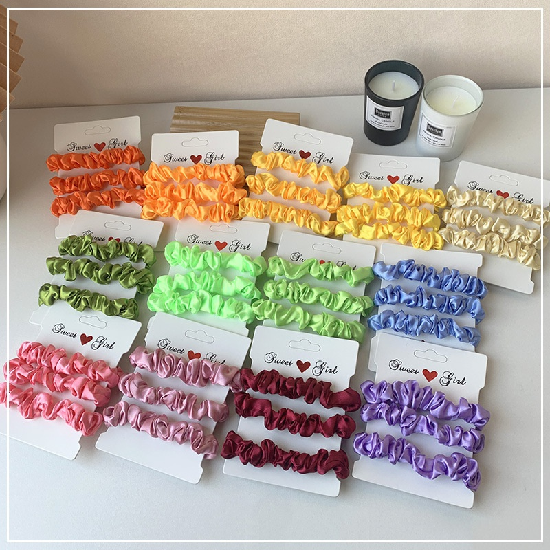 Satin fluorescent color fashion hair scrunchies NHOF306792