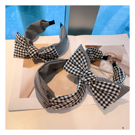 Korea retro cotton plaid stitching double-layer big bow headband NHHD306815's discount tags