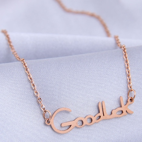 fashion sweet OL simple letter titanium steel necklace NHSC307296's discount tags