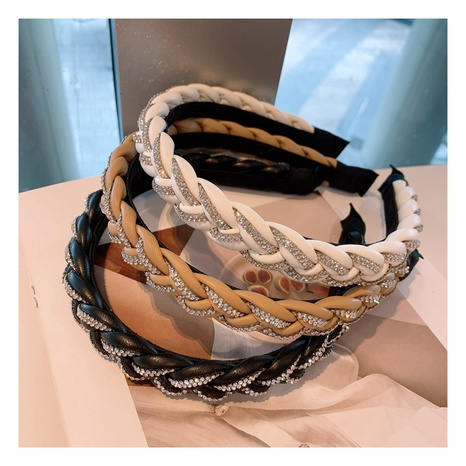 Korean geometric PU leather rhinestone cross braid retro hair band  NHHD306835's discount tags