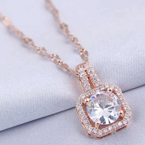 fashion square zircon necklace NHSC307298's discount tags