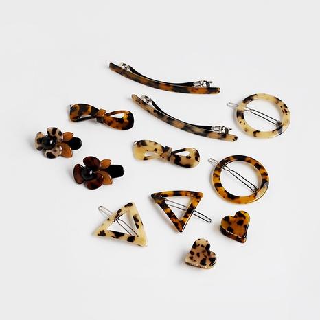 retro leopard print love geometric hairpin  NHAR306913's discount tags