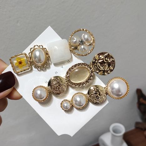 Korea fashion daisy pearl hair clip NHAR306916's discount tags