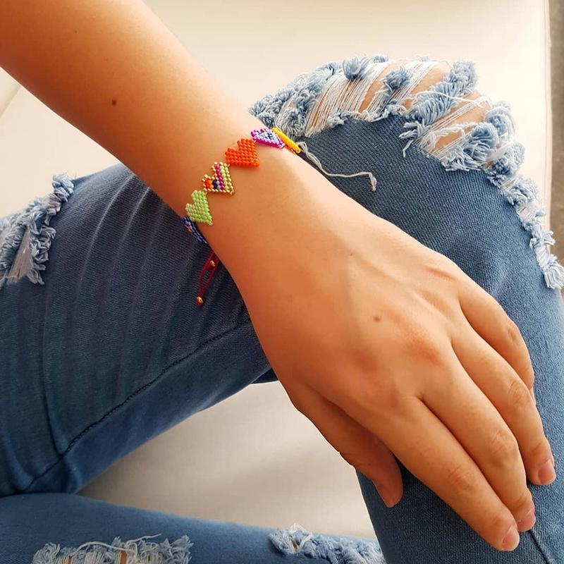 Bohemian element heart beaded bracelet  NHGW306970
